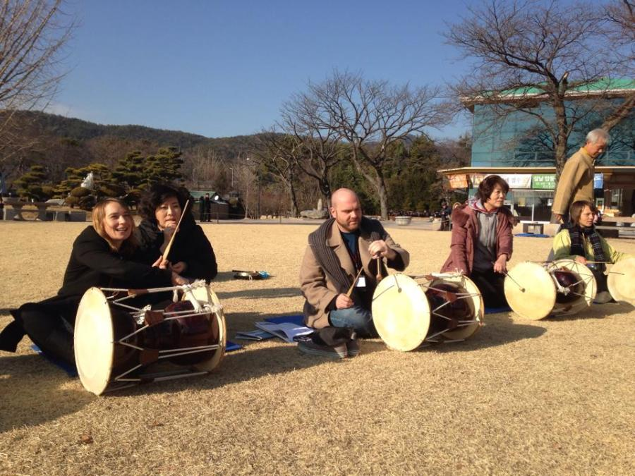 Beating traditional Korean drums has also helped.