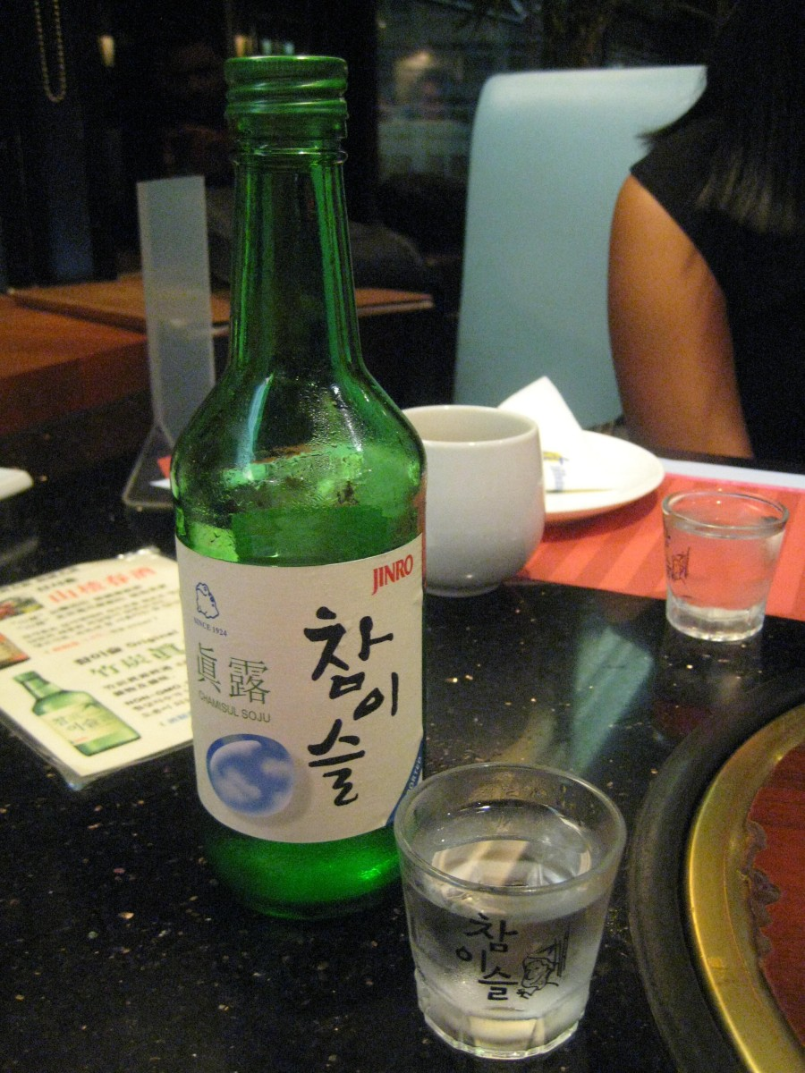 Soju in korean restaurant